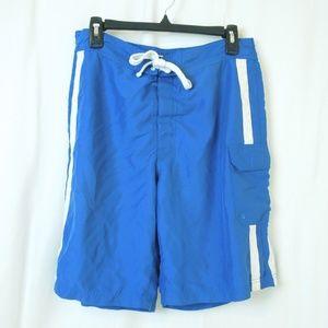 Blue White Swim Trunks Elastic Waist Velcro Tie
